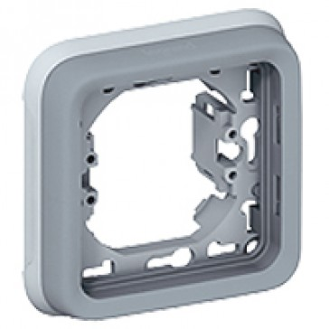 Flush mounting support frame Plexo IP55 - 1 gang - grey