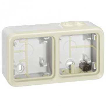 Surface mounting box Plexo IP55 - 2 gang horizontal - with membrane glands - white