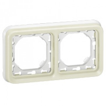 Flush mounting support frame Plexo IP55 - 2 gang horizontal - white