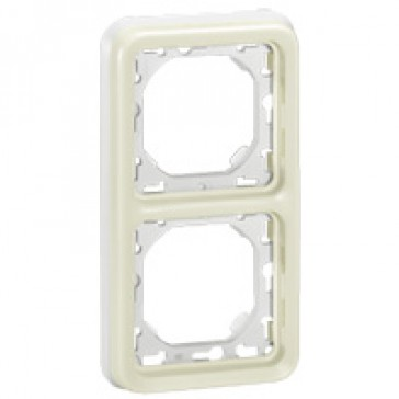 Flush mounting support frame Plexo IP55 - 2 gang vertical - white