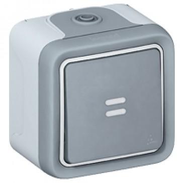 Switch Plexo IP55 - 2-way + indicator - 10 AX 250 V~ - surface mounting -grey