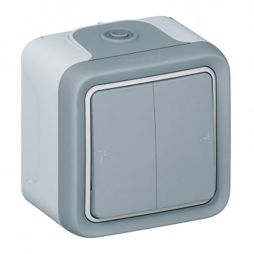 Switch Plexo IP55 - 2 gang 2-way - 10 AX 250 V~ - surface mounting - grey