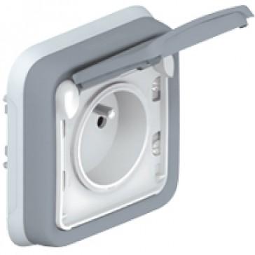 Socket outlet Plexo IP55 - Fr standard - 2P+E + shutters - flush mounting - grey