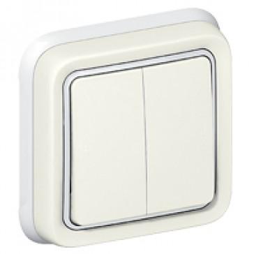 Switch Plexo IP55 - 2 gang 2-way - 10 AX 250 V~ - flush mounting - white