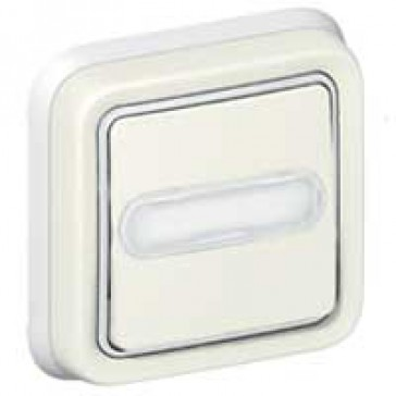 Push-button Plexo IP55 - illuminated changeover + label holder -flush mounting -white