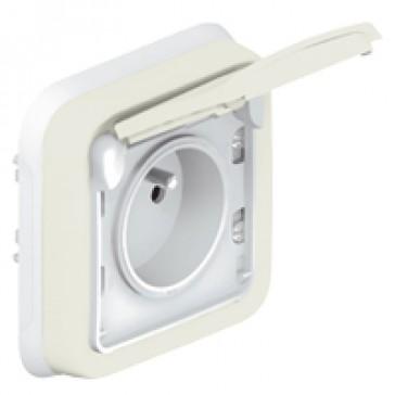 Socket outlet Plexo IP55 - Fr standard - 2P+E + shutters - flush mounting - white