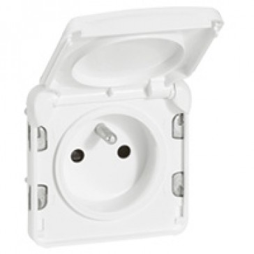 Socket outlet Plexo IP55 antibacterial - French standard - 2P+E-modular-Artic white
