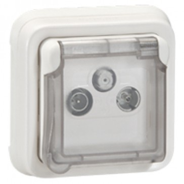 TV-R-SAT socket Plexo IP55 antibacterial - modular-Artic white