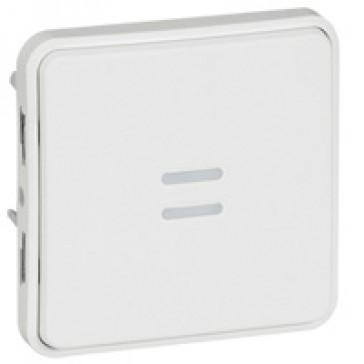 Push-button Plexo IP55 antibacterial - illuminated -10 A- modular - Artic white