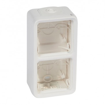Box with glands Plexo IP55 antibact-2 gang-vert mounting-modular-Artic white