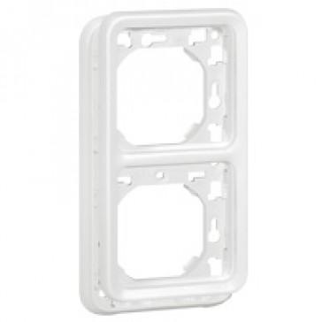 Plate support Plexo IP55 antibacterial-2 gang-vertical mounting-modular-Artic white