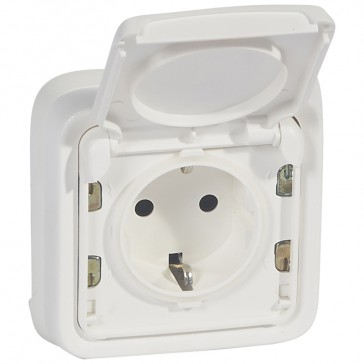 Socket outlet Plexo IP55 antibacterial - French standard - 2P+E - complete - Artic white
