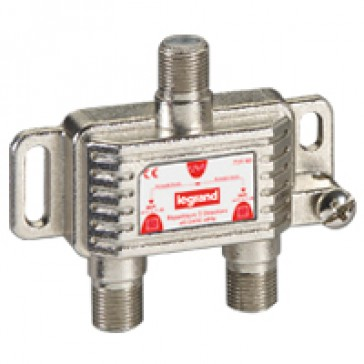 TV coaxial Hertzian and satellite splitter - 0-2400 MHz - 2 outputs -3.5 modules