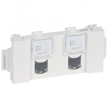 Double RJ 45 socket Mosaic - category 5e UTP Soluclip accessory - 3 modules -white