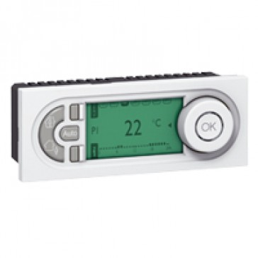 Electronic room thermostat Mosaic - with weekly programming - 5 modules - white