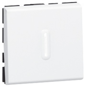 2-way push-button Mosaic - with LED indicator - 6 A 250 V~ - 2 modules - white