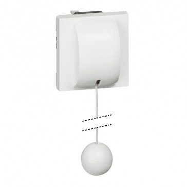 2-way pull-cord switch Mosaic - 10 AX 230 V~ - up to 2300 W- 2 modules -white