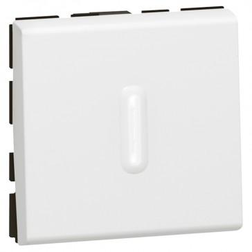 2-way switch Mosaic-with LED indicator-20 AX-250 V~-2 modules-2 pole-white