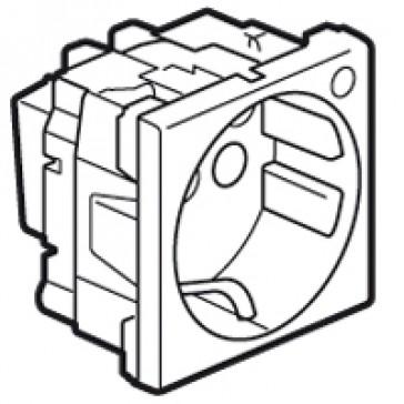 Multi-support single socket Mosaic - German standard - 2P+E with indicator - 2 modules