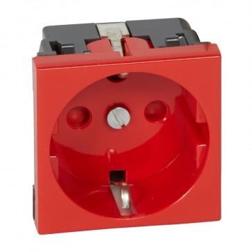 Socket outlet Mosaic - German standard - 2P+E screw terminals - 2 modules - red tamperproof