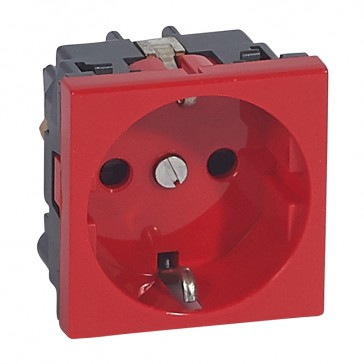 Socket outlet Mosaic - German standard - 2P+E screw terminals - 2 modules - red antimicrobial