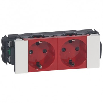 Double socket Mosaic - 2 x 2P+E - for flexible cover snap-on DLP trunking - tamperproof