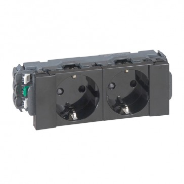 2 x 2P+E German standard socket - for flexible cover snap-on trunking Black Edition