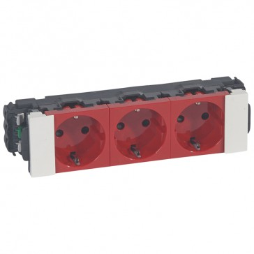 Multiple dedicated socket Mosaic - 3 x 2P+E - for flexible cover snap-on DLP trunking - red
