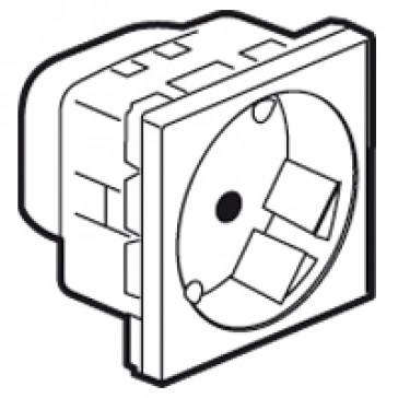 Multi-support single socket Mosaic - German standard - 2P+E angled at 45° - 2 modules