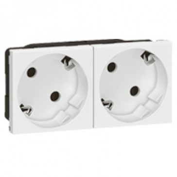 Multi-support multiple socket Mosaic - 2 x 2P+E automatic terminals - standard