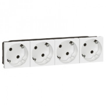 Multi-support multiple socket Mosaic - 4 x 2P+E automatic terminals - standard
