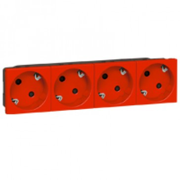 Multi-support multiple socket Mosaic - 4x2P+E automatic terminals - red