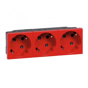 Multi-support multiple socket Mosaic - 3 x 2P+E automatic terminals - tamperproof
