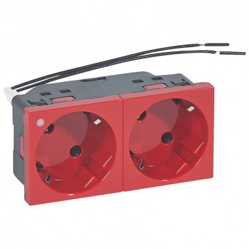 Multi-support multiple socket Mosaic - 2 x 2P+E automatic terminals red - indicator 230 V