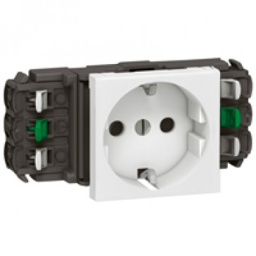 Socket Mosaic - 2P+E - for installation on flexible cover DLP trunking - automatic terminales - standard