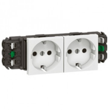 Socket Mosaic - 2 x 2P+E -for installation on flexible cover DLP trunking -automatic terminals -standard