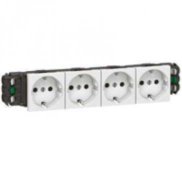 Socket Mosaic - 4 x 2P+E -for installation on flexible cover DLP trunking -automatic terminals -standard