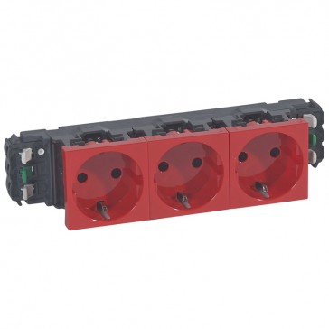Socket Mosaic - 3 x 2P+E - for installation on flexible cover DLP trunking - automatic terminals - red