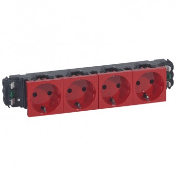 4x2P+E socket prog Mosaic for DLP trunking - automatic terminals -German standard-red