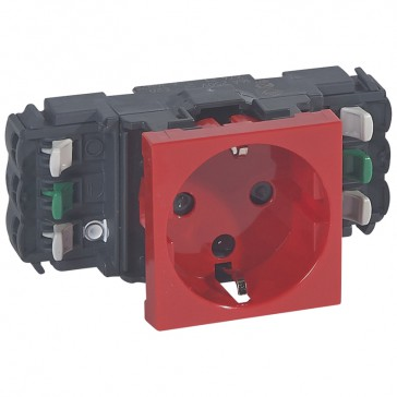Socket Mosaic - 2P+E -for installation on flexible cover DLP trunking - automatic terminals - tamperproof