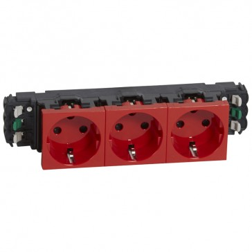 Socket Mosaic - 3 x 2P+E -for installation on flexible cover DLP trunking - automatic terminals - tamperproof