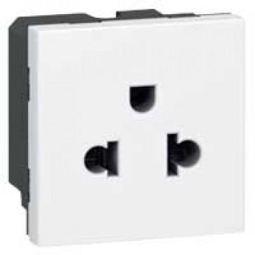 Socket outlet Mosaic - Euro-US - 2P+E - 2 modules - white