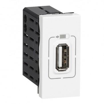 Single USB socket Mosaic - 5 V - 750 mA - 1 module - white