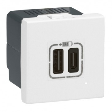Double USB Type-A + Type-C charging sockets Mosaic - 5 V - 3 A - 15 W - 2 modules - white