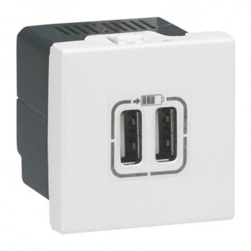 Double USB socket Mosaic - 5 V - 1500 mA - 2 modules - white