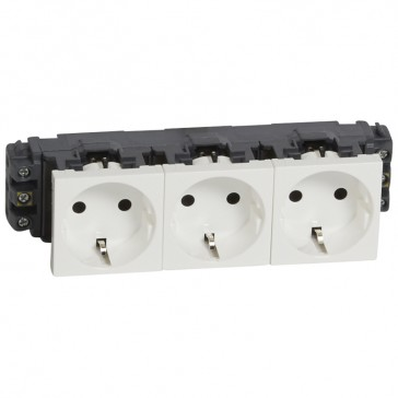 Socket Mosaic - 3 x 2P+E - for installation on flexible cover DLP trunking - screw terminals - standard