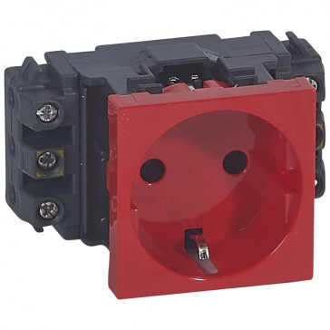 2P+E socket Mosaic for DLP trunking - screw terminals - German standard - red