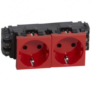 Socket Mosaic - 2 x 2P+E - for installation on flexible cover DLP trunking - screw terminals - red