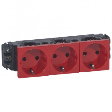 Socket Mosaic - 3 x 2P+E - for installation on flexible cover DLP trunking - screw terminals - red