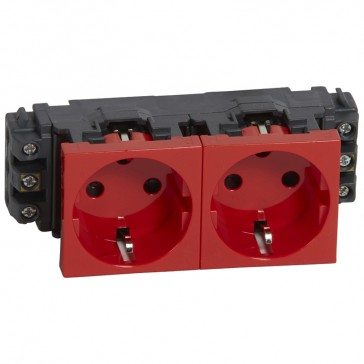 Socket Mosaic - 2 x 2P+E -for installation on flexible cover DLP trunking -screw terminals -tamperproof
